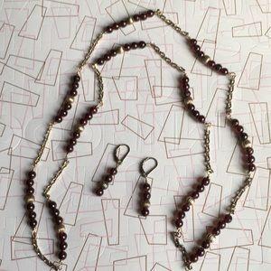"""Jewelry - NWT 34"""" Garnet & SS Necklace w/ Earrings"""